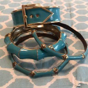 Old navy Enamel blue & gold fashion bracelet set